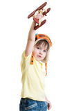 Cute child boy pilot and playing with wooden Stock Photos