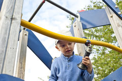 Cute child boy on playground Stock Photos