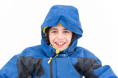Cute Child Boy Portrait in the Snow Royalty Free Stock Images