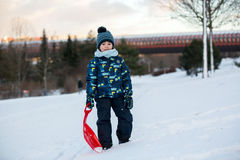 Free Cute Child, Boy, Sliding With Bob In The Snow, Wintertime Stock Photos - 83802393