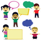 Cute Child Cartoon With Speech Bubble. Some child cartoon vector with speech bubble Stock Images