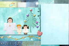 Cute child christmas card, copy space. Royalty Free Stock Images