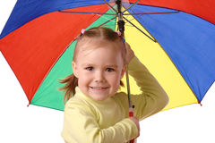 Cute child with colorful umbrella Royalty Free Stock Photography