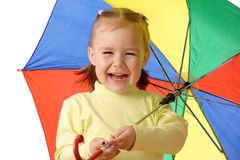 Cute child with colorful umbrella Royalty Free Stock Images