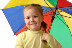 Cute child with colorful umbrella Royalty Free Stock Photos
