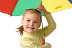 Cute child with colorful umbrella Stock Images
