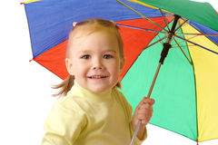 Cute child with colorful umbrella Stock Image