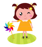 Cute child with colorful windmill Royalty Free Stock Image