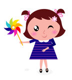 Cute child with colorful windmill Royalty Free Stock Images
