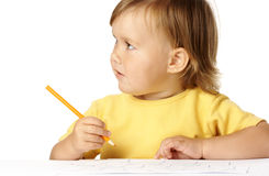 Cute child draw with crayons Royalty Free Stock Photos