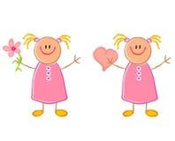 Cute Child Drawing Girls Stock Photos