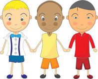 Cute Child Drawing of Multiracial Boys Holding Han Royalty Free Stock Image