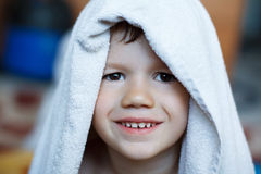Cute child dry with towel Royalty Free Stock Photos
