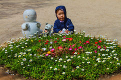 Cute child and flower garden in nami island Royalty Free Stock Image