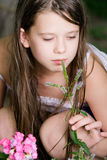 Cute child girl. In nature park Royalty Free Stock Photos
