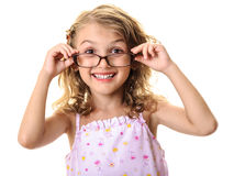 Cute child girl with big glasses Stock Image