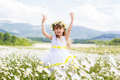 Cute child girl at camomile field Stock Photos
