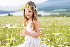 Cute child girl at camomile field Royalty Free Stock Images