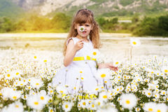 Cute child girl at camomile field Royalty Free Stock Image