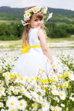 Cute child girl at camomile field Stock Photo