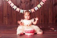 Cute child girl celebrating birthyda Royalty Free Stock Photos