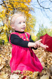 Cute child girl playing with fallen leaves, autumn Royalty Free Stock Images