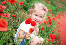 Cute child girl in poppy field Stock Photos
