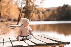 Cute child girl posing outdoors Royalty Free Stock Photos