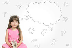 Cute Child girl thinking with a thought bubble. On the white background with arrows concept for confusion and solution Royalty Free Stock Images