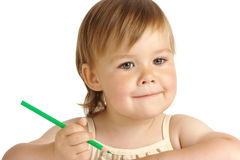 Cute child with green crayon Stock Photo