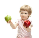 Cute child holding apples Stock Photo