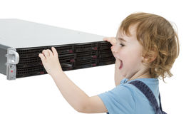 Cute child with network server Stock Image