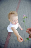Cute child over pavement background Stock Photography