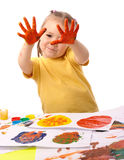 Cute child paint using hands Stock Photos