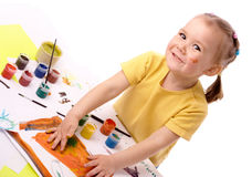 Cute child paint using hands Royalty Free Stock Photography