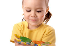 Cute child with painted hands Royalty Free Stock Photos