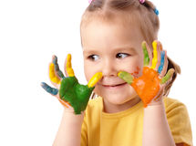 Cute child with painted hands Royalty Free Stock Photo