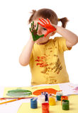Cute child with painted hands Stock Images