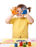 Cute child with painted hands Stock Photography