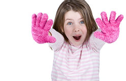 Cute Child with Pink Gloves Royalty Free Stock Photos