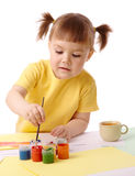 Cute child play with paints Royalty Free Stock Photography