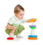 Cute child playing colorful tower Stock Image