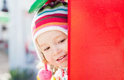 Cute child playing. At the playground stock images