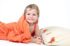 Cute child portrait over white Stock Image