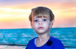 Cute child portrait at sunset Stock Photos