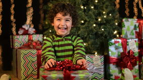Cute Child Receives Christmas Present stock video