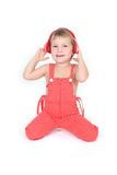 Cute child in red clothes over white Stock Images