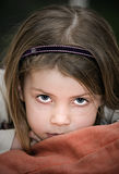Cute Child Resting Head on Cushion Stock Photo
