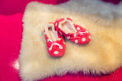 Cute child's slippers Royalty Free Stock Photos