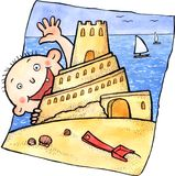 Cute child and sand castle Royalty Free Stock Photo